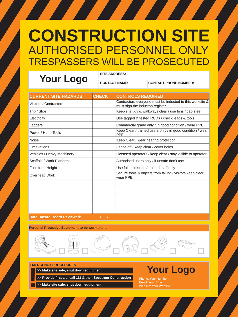 Hazard Board Customisable Health And Safety Signs